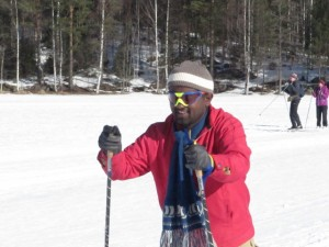 Doctoral candidate Beshah Mogasse from Ethiopia having his introductory course in cross-country skiing, 1st April, 2013.